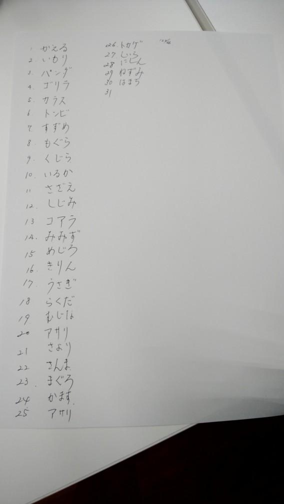 3文字の生き物を書き出す